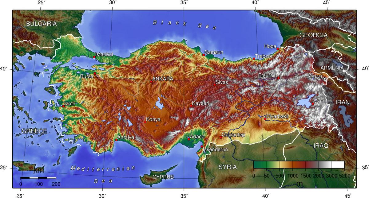 Carte topographique et relief de turquie